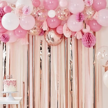 Pink And Rose Gold Balloon And Fan Garland Kit I Rose Gold Party Decor