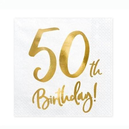 50th Birthday Napkins I Modern 50th Birthday Party Supplies I Uk