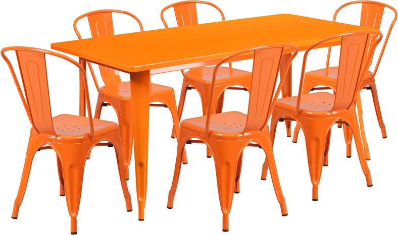 orange tolix outdoor patio chairs and table 31 5 x 63 7 piece set