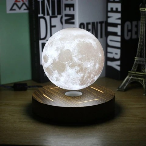 3D Magnetic Levitation Moon Lamp 360 Rotated Wooden Base | Night Lamp Floating Romantic Light for Bedroom