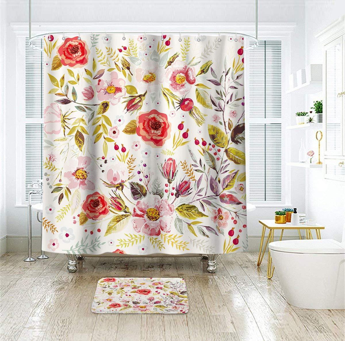 riyidecor pink floral shower curtain