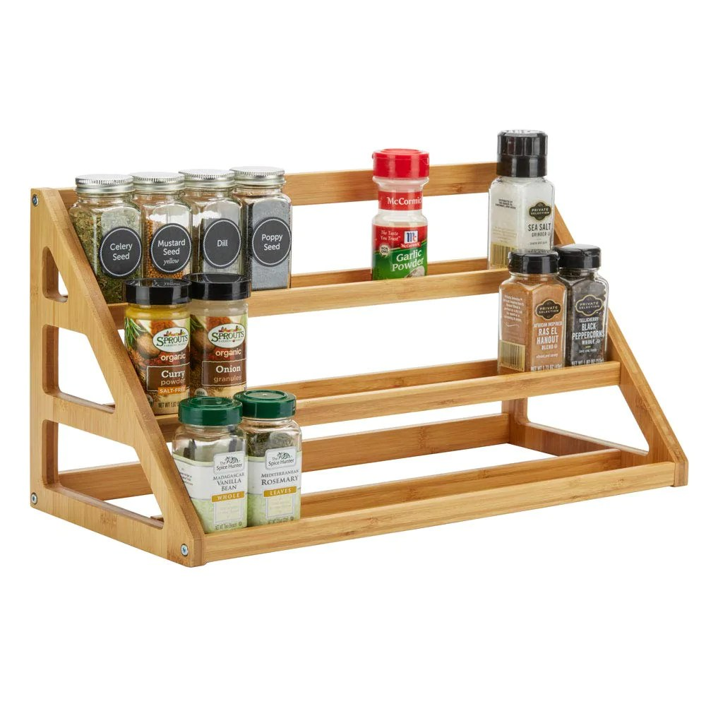 spiceluxe bamboo stadium rack beautiful spice organizer for counter or cabinets spice jars not included