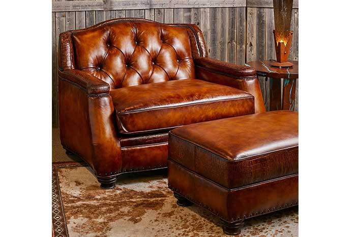 saddle burnished tufted leather