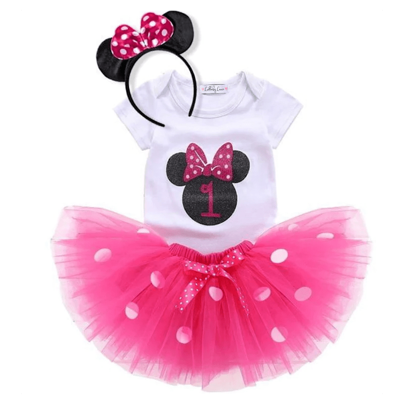 Pink Minnie Mouse First Birthday Outfit Lullaby Lane Baby Boutique