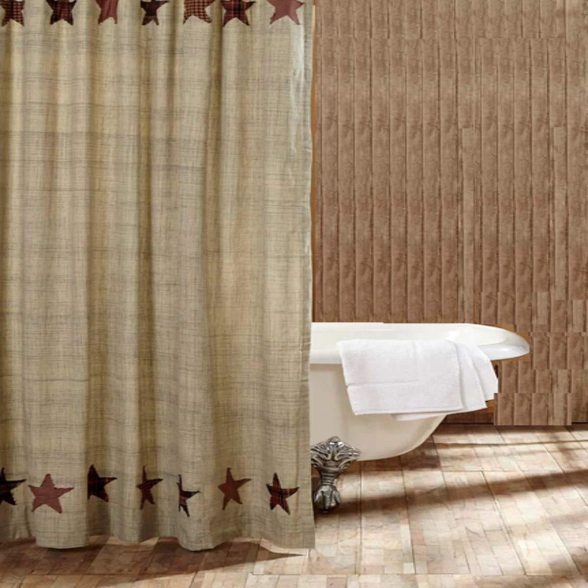 Country Primitive Abilene Star Shower Curtain