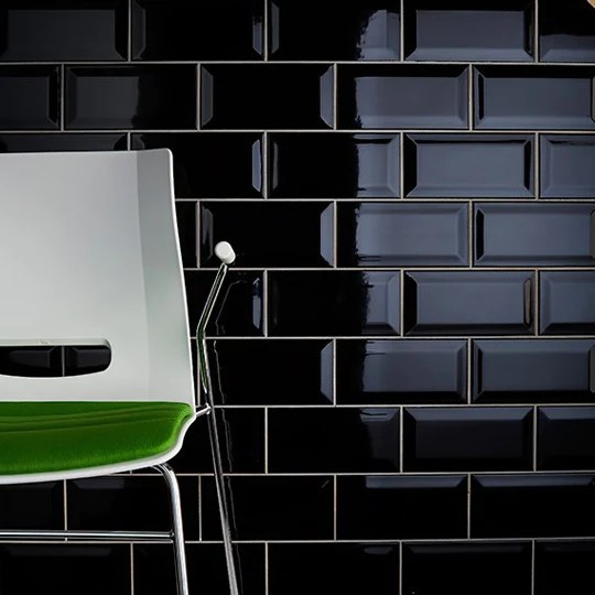 10x20cm metro black gloss bevelled brick tile