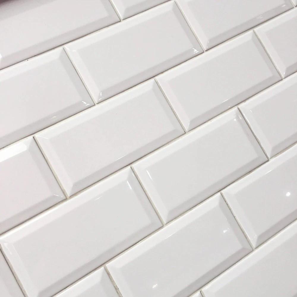 10x20cm metro white gloss bevelled brick tile