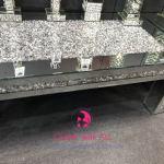 Diamond Crush Sparkle Crystal Mirrored Rectangular Coffee Table Border Trim Outlet Wall Art