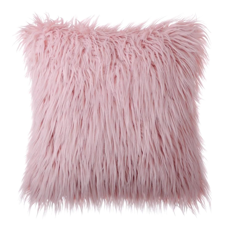 fluffy pink pillows