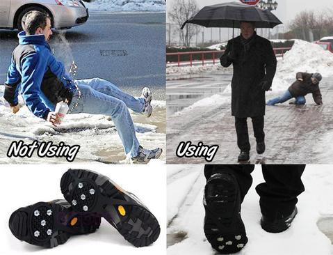 10 Nails Non Slip Climbing Silicone Shoe Grip Studs Ice Gripper