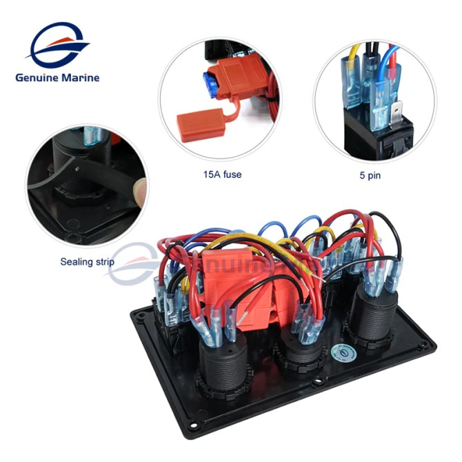 6 gang waterproof rocker switch panel with 15a fuse use for