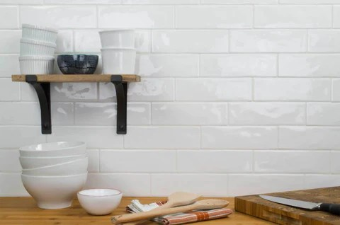 classic white glossy ceramic 2x8 subway