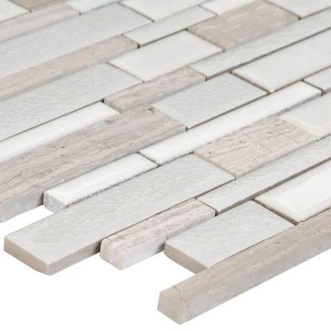 modern linear grey glass mosaic tile