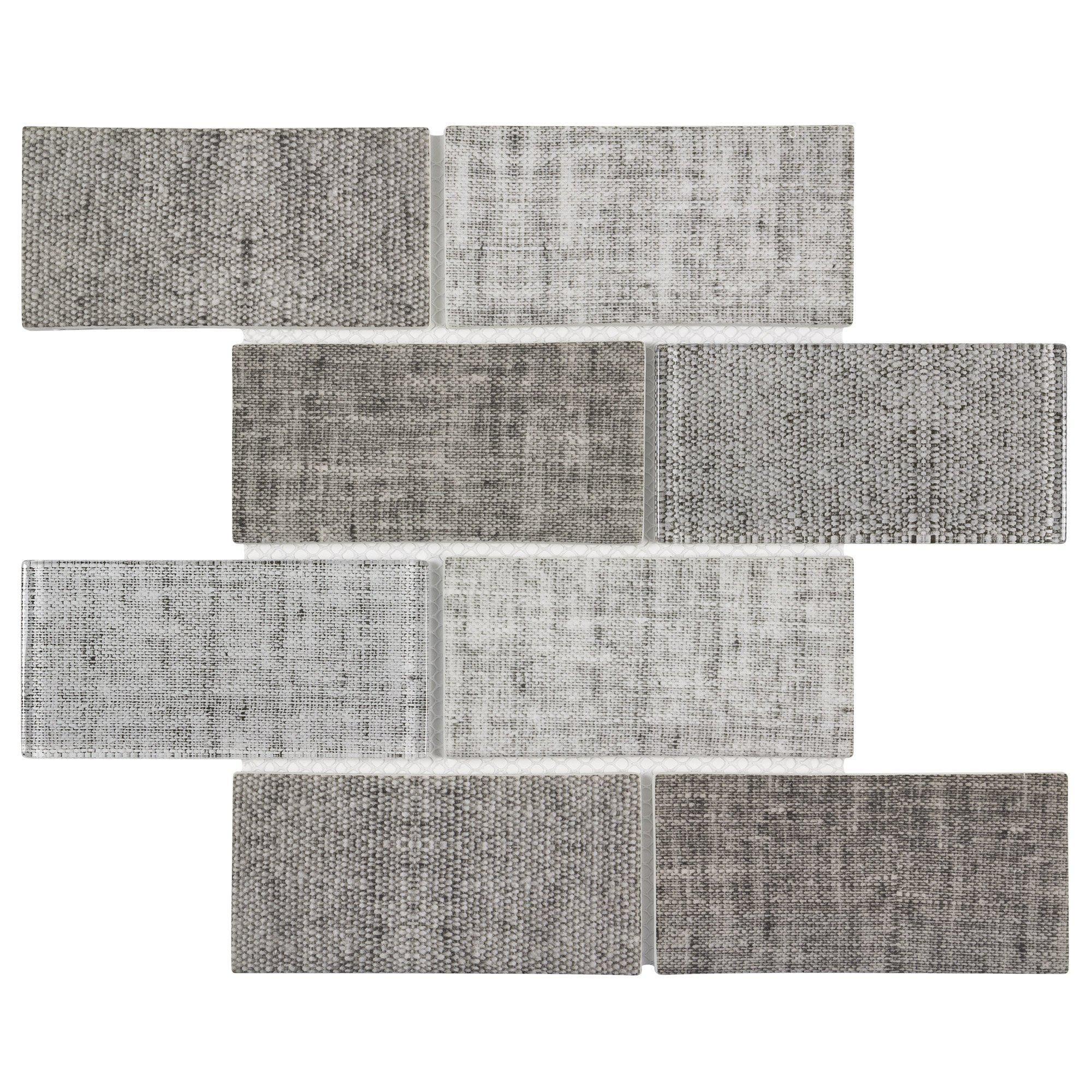 mto0517 classic 3x6 brick subway beige gray linen look matte glass mosaic tile