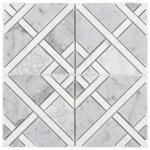 Gray White Carrara Thassos Mixed Marble Mosaic Tile Mto0528