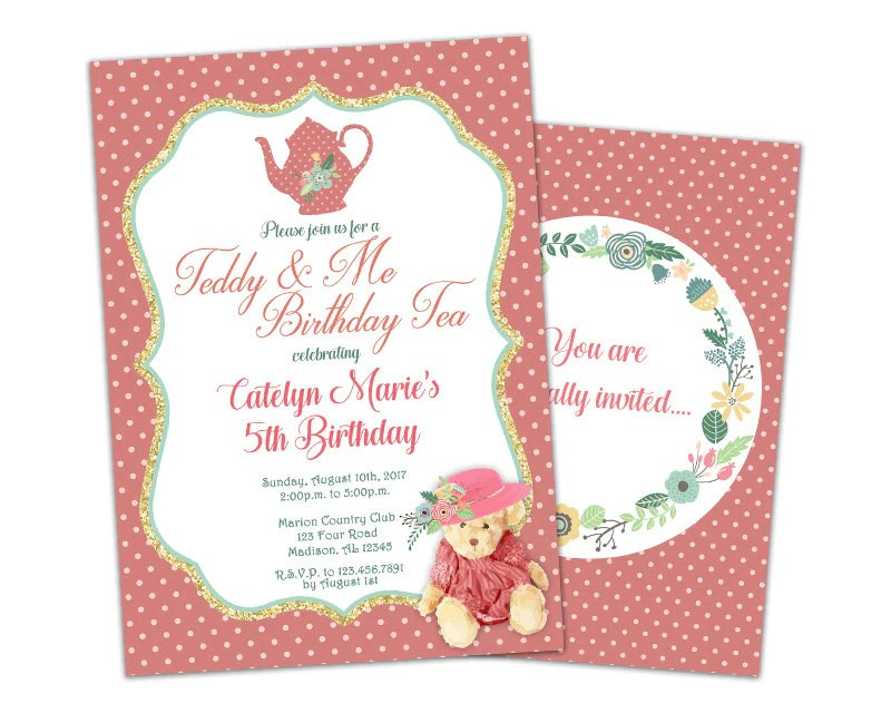 teddy bear tea party birthday invitations