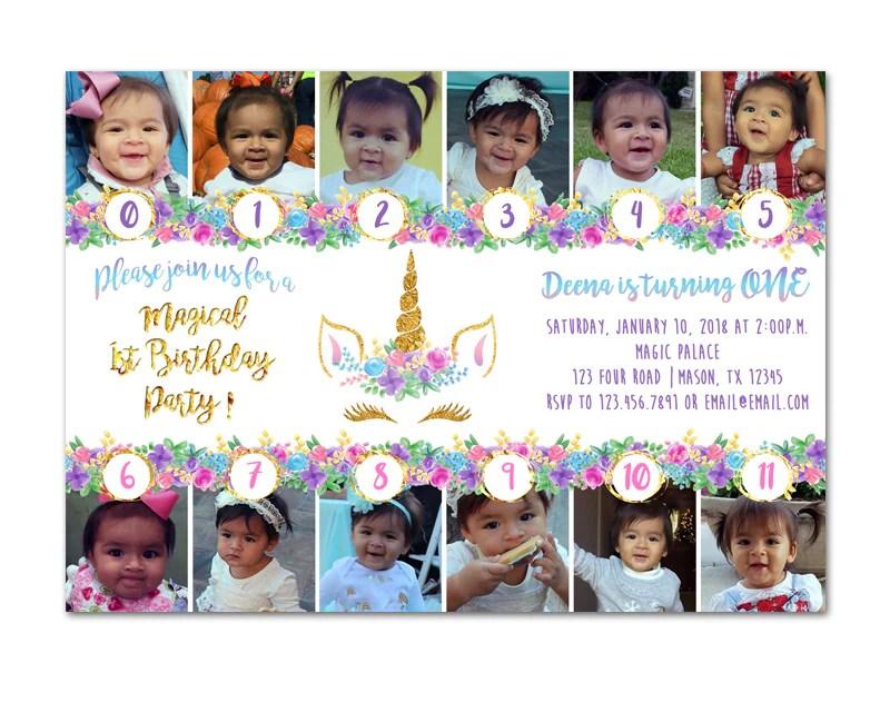 photo unicorn 1st birthday invitations