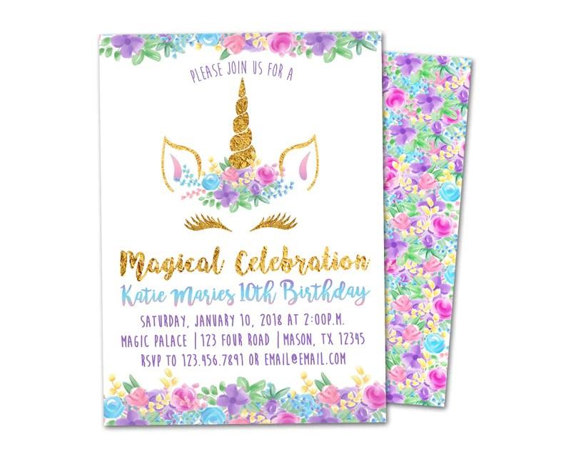unicorn head birthday invitation