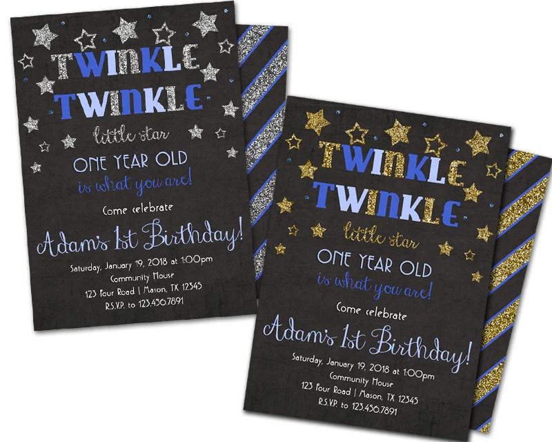 blue twinkle little star 1st birthday invitations