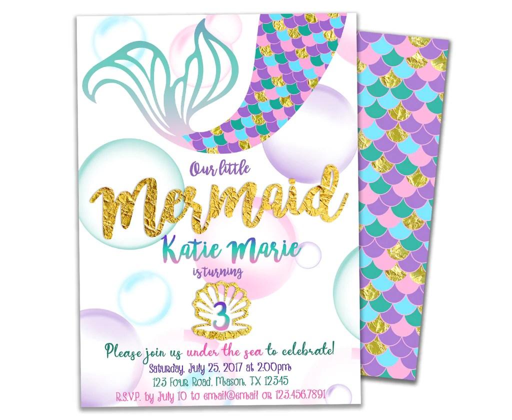 mermaid birthday invitations girl purple gold