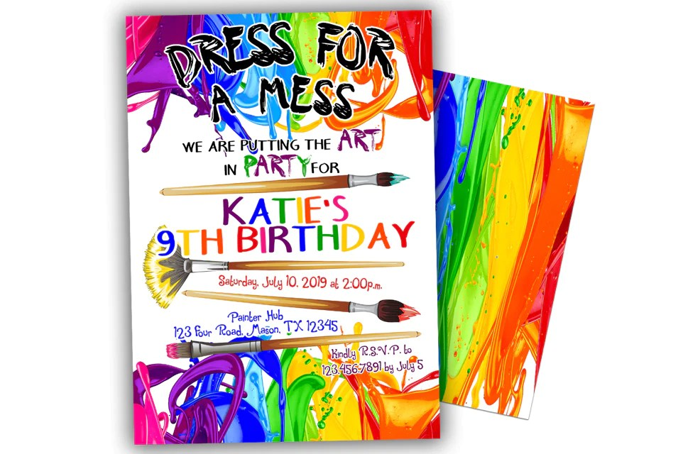 rainbow painting birthday party invitations