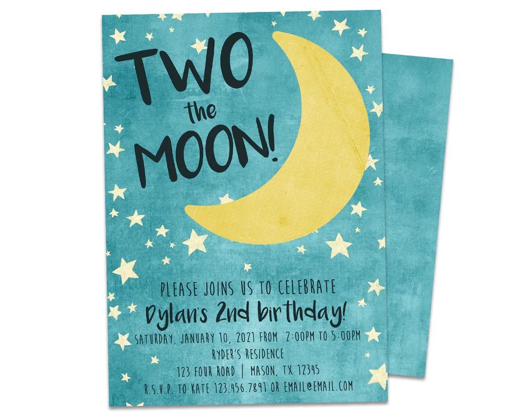 two the moon birthday invitations
