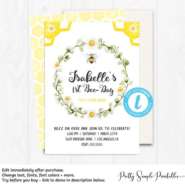 1st bee day invitation bee1
