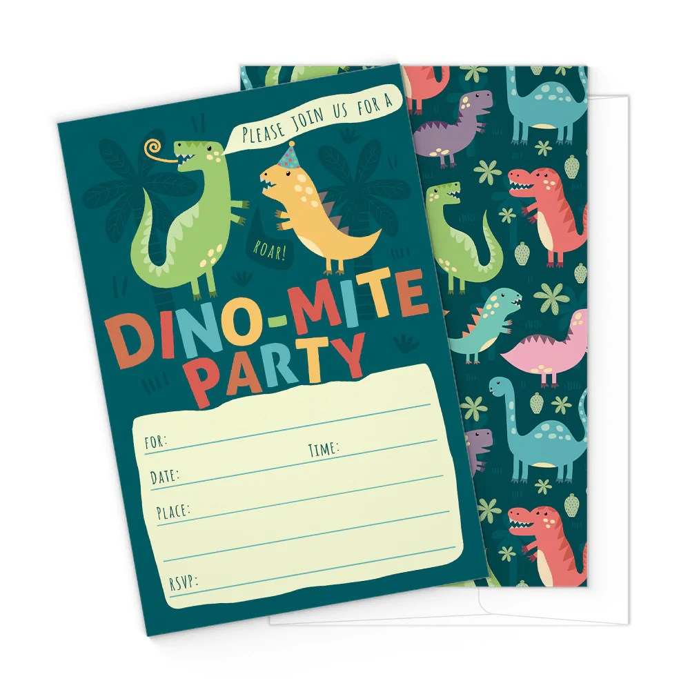 dinosaur kids party invitation cards with envelopes 25 count
