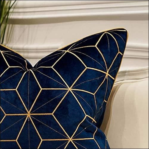 embroidered navy blue gold plaid throw pillow cover