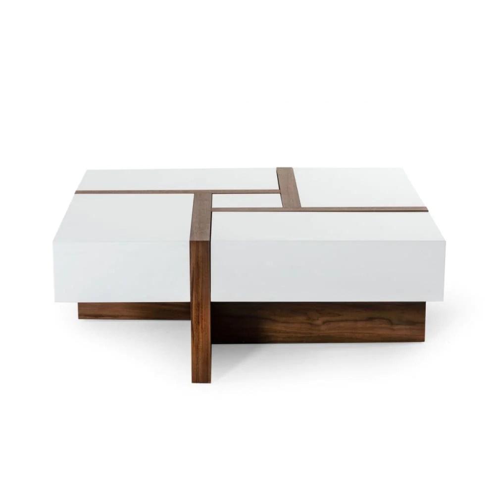 modrest makai modern white and walnut square coffee table