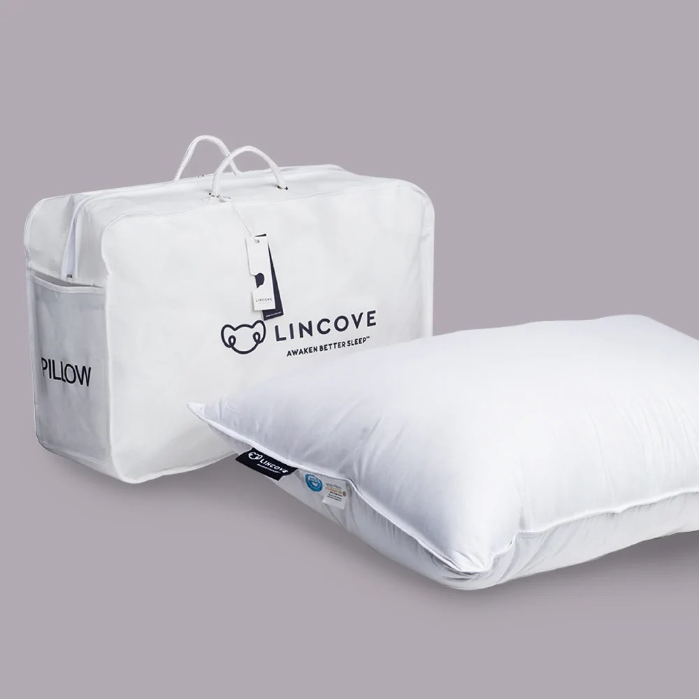 https www lincove com products lincove natural 100 white down canada luxury sleeping pillow 625 fill power 500 thread count cotton shell made in canada