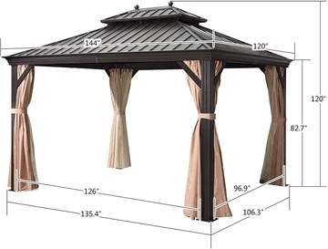 10 x 12 12 x 16 12 x 20 double roof hardtop aluminum permanent gazebo with mosquito net and privacy curtain
