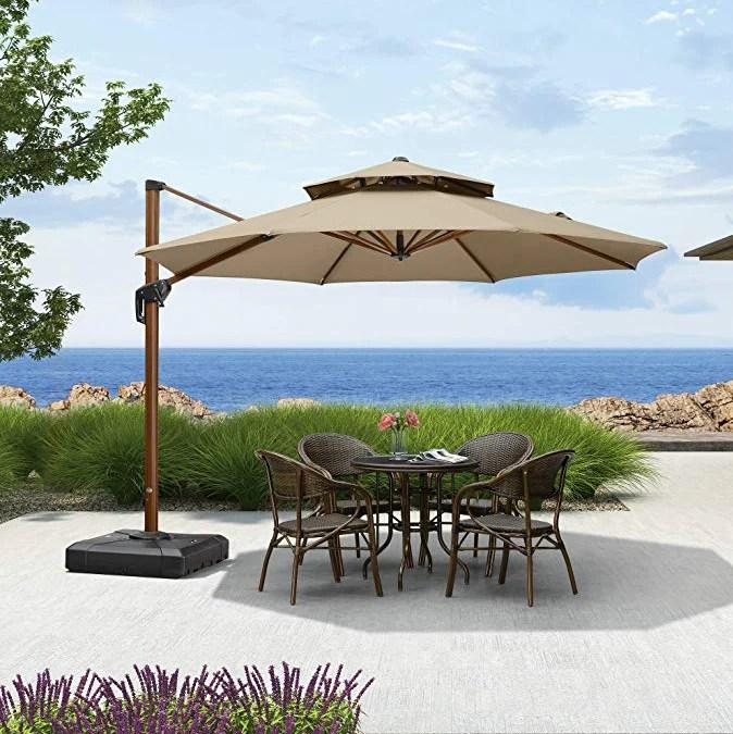 11 feet round sunbrella cantilever patio umbrella outdoor umbrella with 360 degree rotation