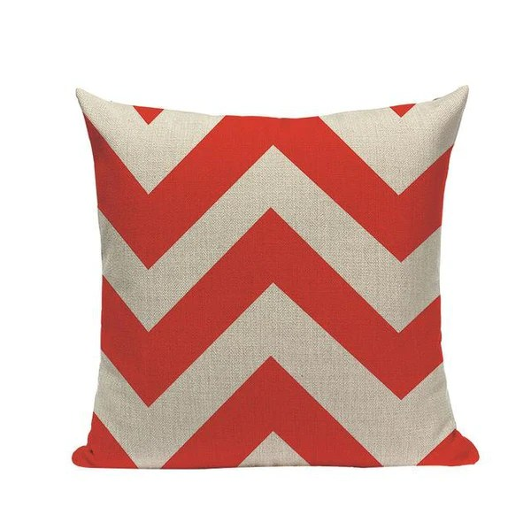 funky coral red abstract geometric sofa