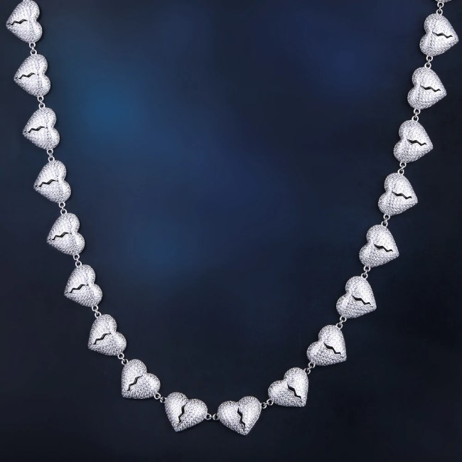 Iced Broken Heart Necklace in White Gold