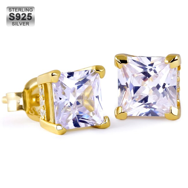Princess Brilliant 925 Sterling Silver Stud Earrings in 14k Gold