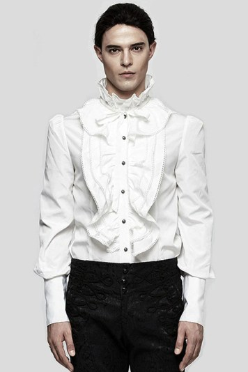mans gothic frilly white shirt