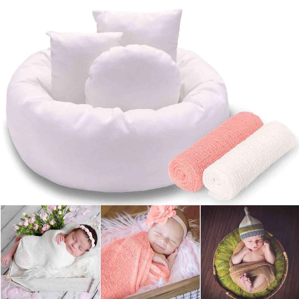newborn baby photo donut posing pillow white 2 pcs baby stretch wrap