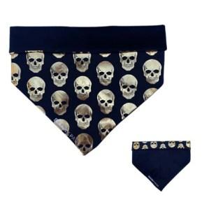 Black and Gold Skulls Boys Dog Bandanas