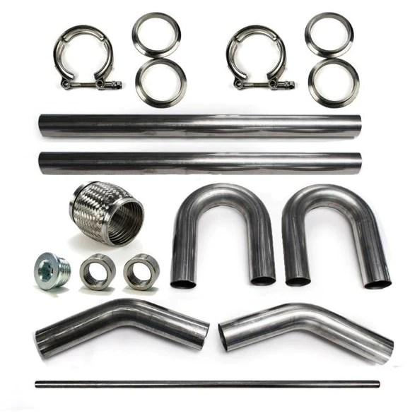 2 5 304 stainless mandrel bend diy kit exhaust v band clamp flex coupler 45 180