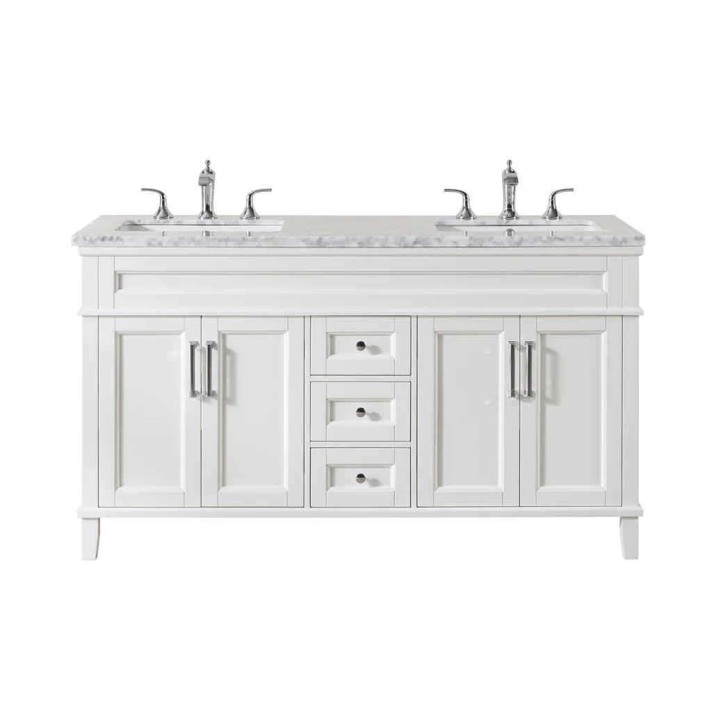 Stufurhome Melody 59 Inch White Double Sink Bathroom Vanity Stufurhome