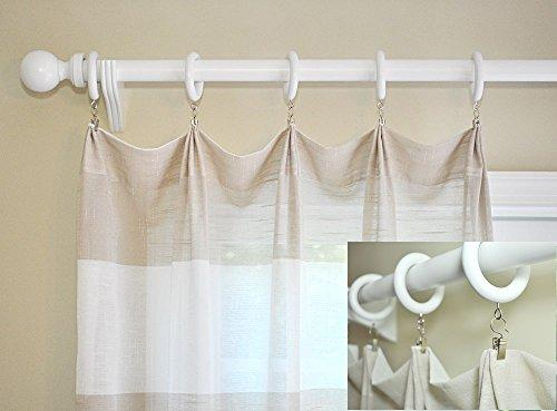 white wood curtain rod rings with pinch a pleat clips and ripple pleat chains 7 pack for a 1 3 8 pole