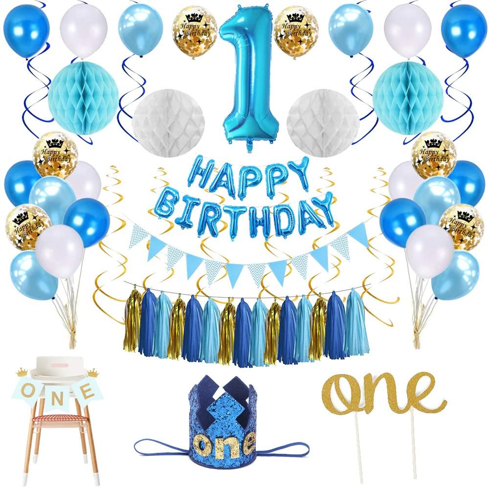 First Birthday Boy String Decoration 6pk Baby 1st Party Party Supplies Universitasfundacion Home Garden