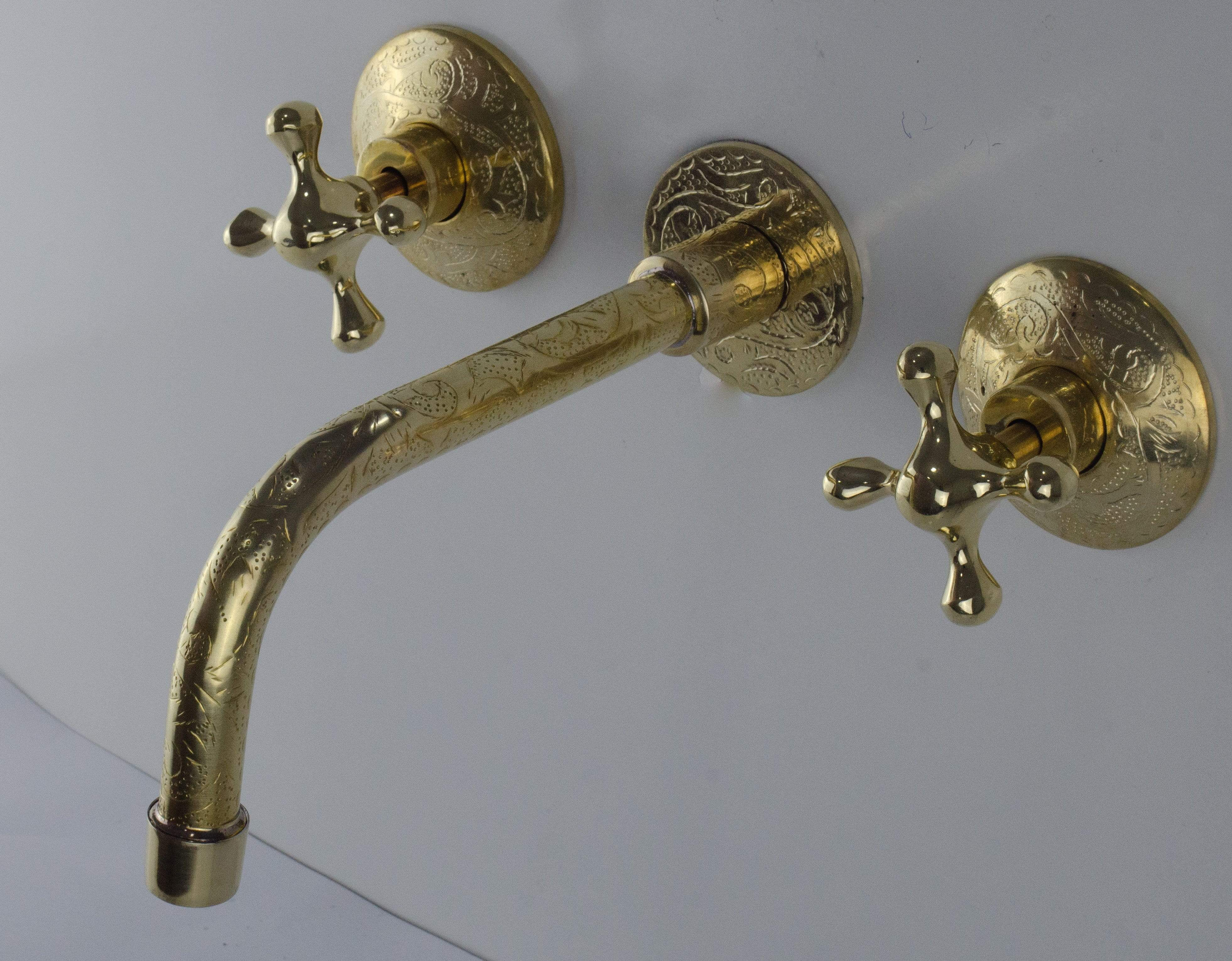 unlacquered brass engraved wall mounted bathroom sink faucet