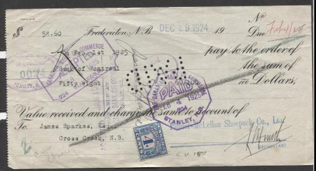 Canada #FX11 11c Blue 11 Two Leaf Excise on 19211 CIBC Post-Dated Cheque  VF-11