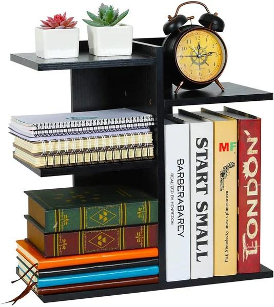 wood desktop bookshelf assembled countertop bookcase literature holder accessories display rack office supplies desk organizer