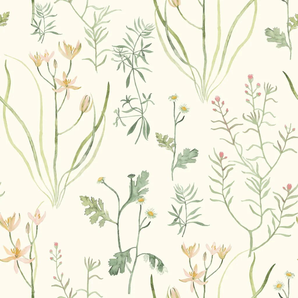 Nr1565 Norlander Alpine Botanical Wallpaper Green Us Wall Decor