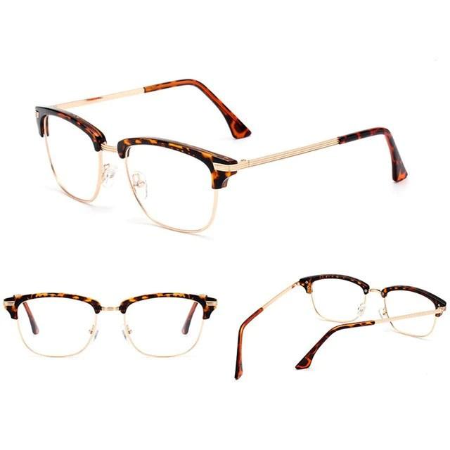 79261cbee724 Retro Black Gold Vintage Womens Half Rimless Optical Glasses Frame