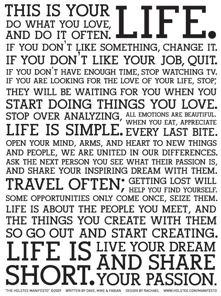 This is Your Life manifesto