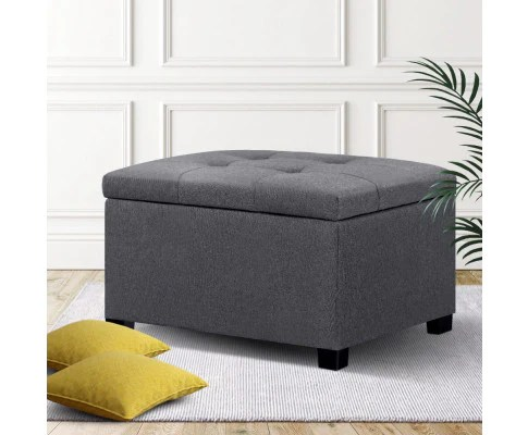 storage ottoman square blanket box linen grey